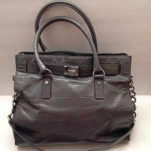 Michael Kors grey croc embossed leather tote